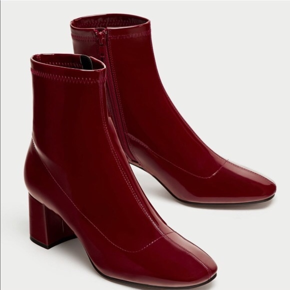 c1eb544ff92 Zara Shoes | Burgundy Red Patent Boots | Poshmark